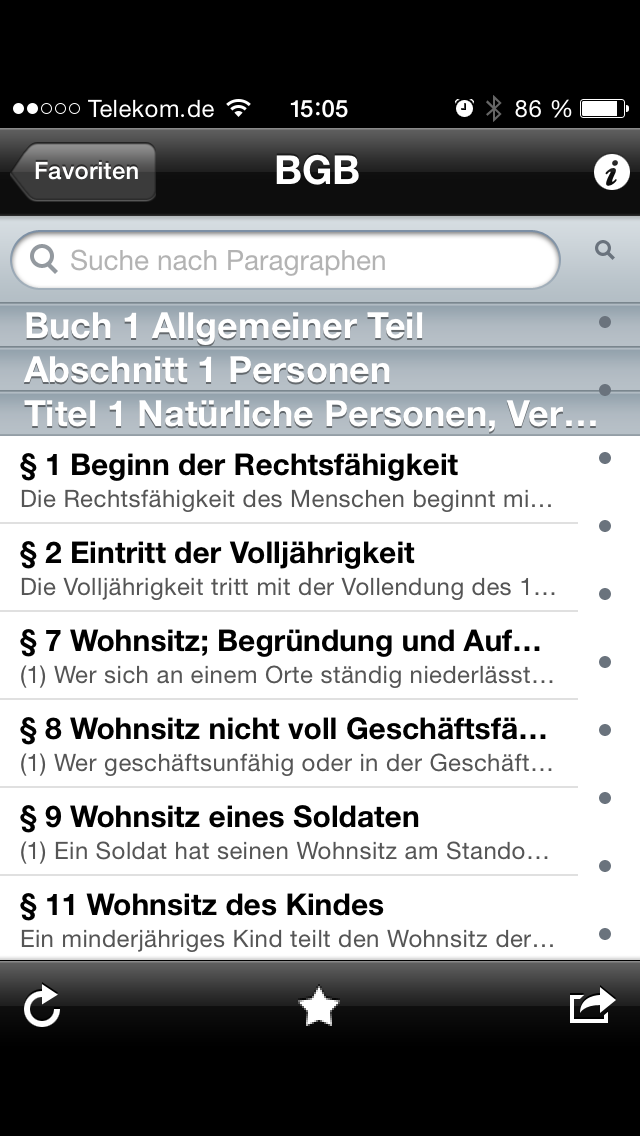 Bildschirm Foto der App Gesetze